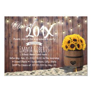 Rustic Sunflower & String Lights Graduation Party Invitation