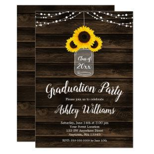 Rustic Sunflower String Lights Graduation Party Invitation