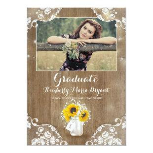 Rustic Sunflowers Mason Jar Photo Graduation Party Invitation