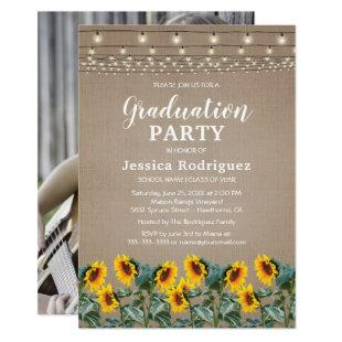 Rustic Sunflowers String Lights Graduation Party Invitation