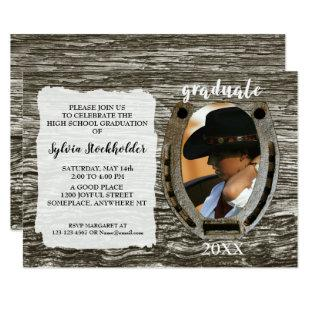 Rustic Western style with Photo graduation Invitation