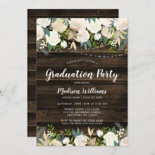 Rustic White Floral String Lights Graduation Party