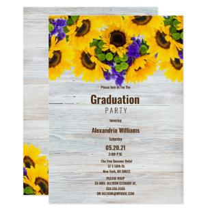 Rustic white wood sunflower floral Graduation Invitation