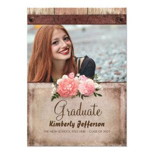 Rustic Wood and Burlap Floral Photo Graduation Invitation