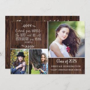 Rustic Wood Christian Graduation Bible Verse Invitation