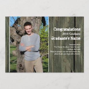 Rustic Wood Four Photo Scripture Graduation Announcement