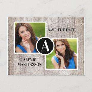 Rustic Wood Graduation 2 Photo Save Date Announcement Postcard