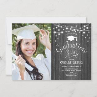 Rustic Wood Graduation Party With Photo Invitation