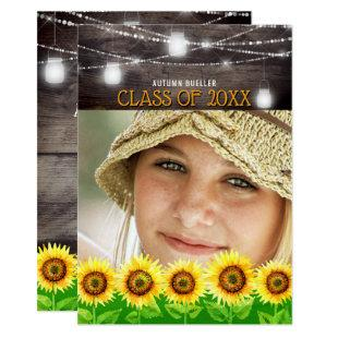 Rustic Wood Mason Jars Sunflower Photo Graduation Invitation