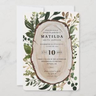 Rustic wood slice graduation party invite