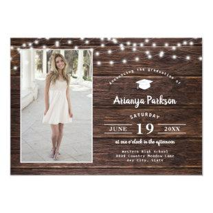 Rustic Wood String Lights photo graduation Invitation