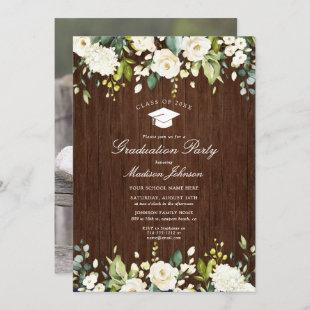 Rustic Wood White Floral Photo Graduation Party
