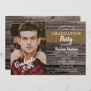 Rustic Woodsy Photo Graduation Party Invitation