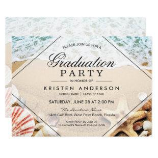 Sandy Beach Starfish Seashell Graduation Party Invitation