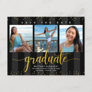 Save date graduation photo modern chic black gold invitation postcard