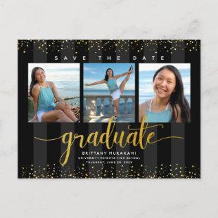 Save date graduation photo modern gold glam script invitation postcard
