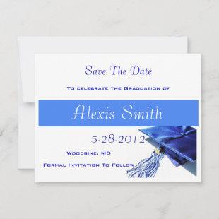 Save The Date Cards - Blue Graduation Cap