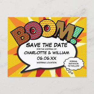 Save the Date Comic Book BOOM Modern Fun Announcement Postcard