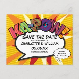 Save the Date Comic Book KA-POW Modern Fun Announcement Postcard