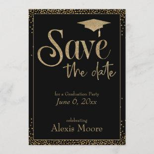 Save the Date for a Graduation Party Gold on Black