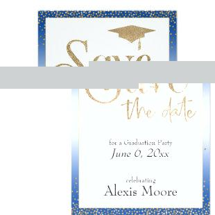 Save the Date for a Graduation Party Gold on Blue Invitation