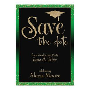 Save the Date for a Graduation Party Gold on Green Invitation