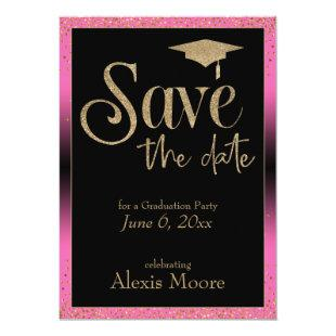 Save the Date for a Graduation Party Gold & Pink Invitation