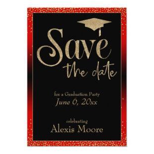 Save the Date for a Graduation Party Gold & Red Invitation