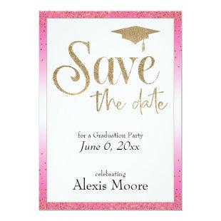 Save the Date for a Graduation Party, Hot Pink Invitation