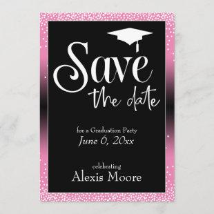 Save the Date for a Graduation Party Pink Ombre
