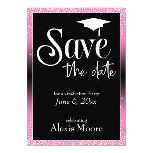 Save the Date for a Graduation Party Pink Ombre Invitation