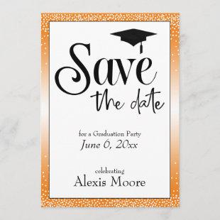 Save the Date for Graduation Party Black on Orange Invitation