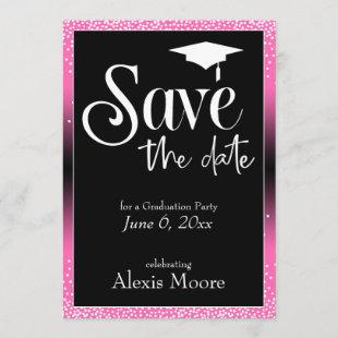 Save the Date for Graduation Party Hot Pink Ombre