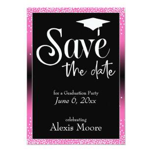 Save the Date for Graduation Party Hot Pink Ombre Invitation