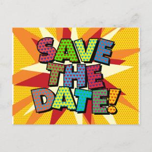 SAVE THE DATE Fun Retro Comic Book Pop Art Announcement Postcard