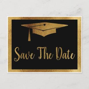 Save The Date Graduation - Black & Faux Gold Style Announcement Postcard