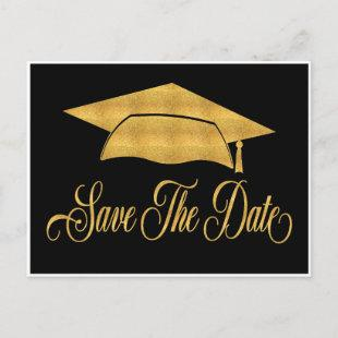 Save The Date Graduation - Faux Gold Grad Cap Announcement Postcard