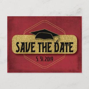 Save The Date Graduation Modern Red Gold Postcard