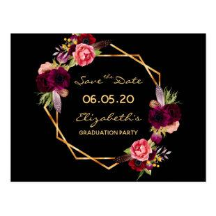 Save the Date graduation party 2020 black florals Postcard