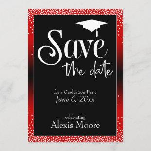 Save the Date Graduation Party Bright Red Ombre Invitation