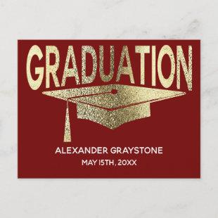 Save The Date Graduation Red & Faux Gold Modern Announcement Postcard