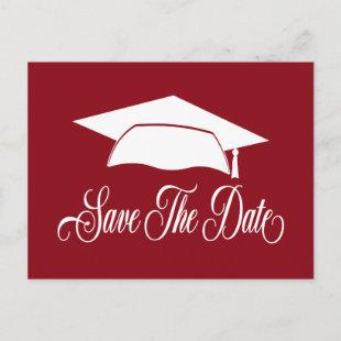 Save The Date Graduation -Simple Red White School Announcement Postcard