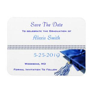 Save the Date Magnets - Blue Graduation Cap