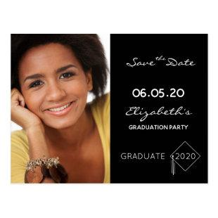 Save the Date photo graduation party 2020 black Postcard
