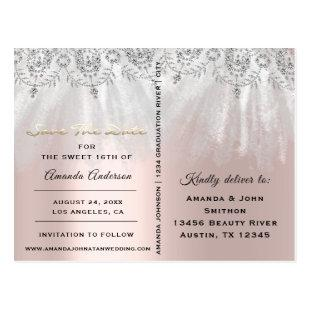 Save The Date Photo Gray 16th 15th Bridal Shower Postcard
