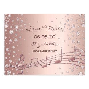 Save the Date rose gold glam graduation party 2020 Postcard