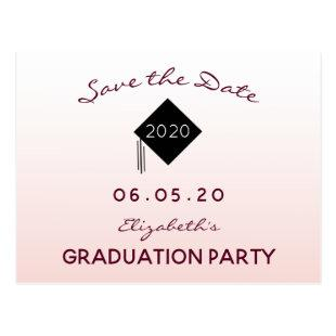 Save the Date rose gold graduation party 2020 Postcard