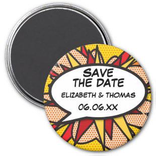 SAVE THE DATE Speech Bubble Fun Retro Comic Book Magnet