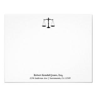Scales of Justice Black Lawyer Attorney Stationery Invitation