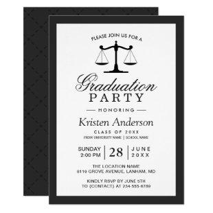 Scales of Justice Law School Graduation Party Invitation